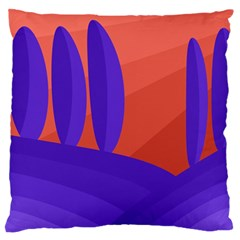 Purple And Orange Landscape Large Flano Cushion Case (one Side) by Valentinaart