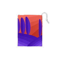 Purple And Orange Landscape Drawstring Pouches (xs)  by Valentinaart