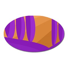 Orange And Purple Landscape Oval Magnet by Valentinaart