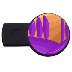 Orange And Purple Landscape Usb Flash Drive Round (2 Gb)  by Valentinaart