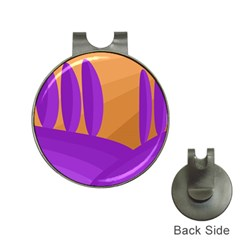Orange And Purple Landscape Hat Clips With Golf Markers by Valentinaart