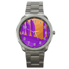 Orange And Purple Landscape Sport Metal Watch by Valentinaart