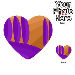 Orange And Purple Landscape Multi-purpose Cards (heart)