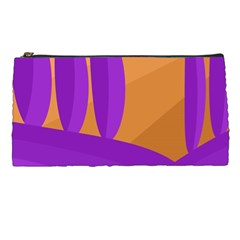 Orange And Purple Landscape Pencil Cases by Valentinaart