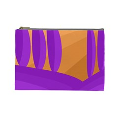 Orange And Purple Landscape Cosmetic Bag (large)  by Valentinaart