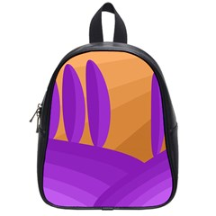 Orange And Purple Landscape School Bags (small)  by Valentinaart