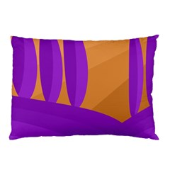 Orange And Purple Landscape Pillow Case (two Sides) by Valentinaart