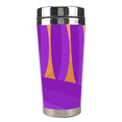 Orange And Purple Landscape Stainless Steel Travel Tumblers by Valentinaart