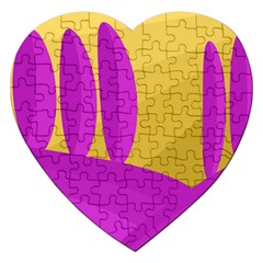 Yellow And Magenta Landscape Jigsaw Puzzle (heart) by Valentinaart