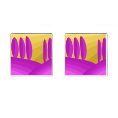 Yellow And Magenta Landscape Cufflinks (square) by Valentinaart