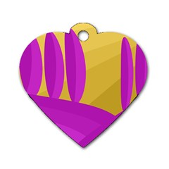 Yellow And Magenta Landscape Dog Tag Heart (two Sides) by Valentinaart