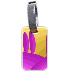 Yellow And Magenta Landscape Luggage Tags (one Side)  by Valentinaart