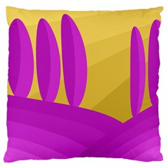 Yellow And Magenta Landscape Large Flano Cushion Case (one Side) by Valentinaart