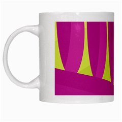 Yellow And Pink Landscape White Mugs by Valentinaart