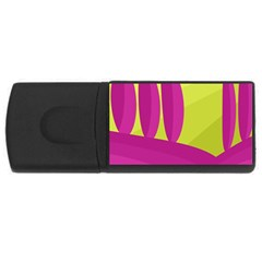 Yellow And Pink Landscape Usb Flash Drive Rectangular (4 Gb)  by Valentinaart