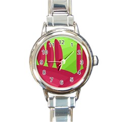 Green And Red Landscape Round Italian Charm Watch by Valentinaart