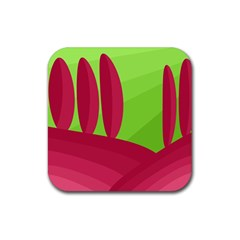 Green And Red Landscape Rubber Coaster (square)  by Valentinaart