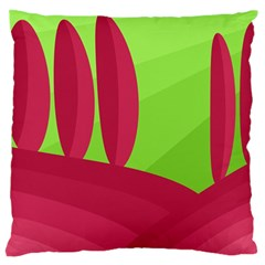 Green And Red Landscape Large Cushion Case (one Side) by Valentinaart