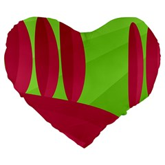 Green And Red Landscape Large 19  Premium Heart Shape Cushions by Valentinaart