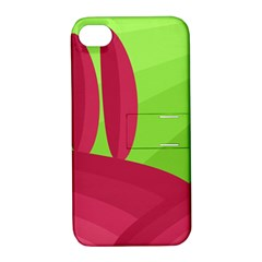 Green And Red Landscape Apple Iphone 4/4s Hardshell Case With Stand by Valentinaart