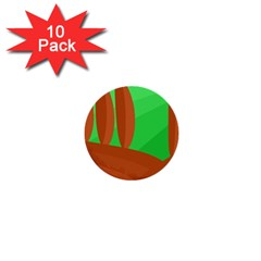 Green And Orange Landscape 1  Mini Buttons (10 Pack)  by Valentinaart