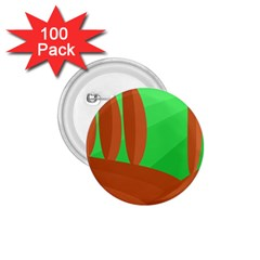 Green And Orange Landscape 1 75  Buttons (100 Pack)  by Valentinaart