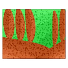 Green And Orange Landscape Rectangular Jigsaw Puzzl by Valentinaart