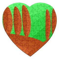 Green And Orange Landscape Jigsaw Puzzle (heart) by Valentinaart