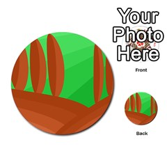 Green And Orange Landscape Multi Purpose Cards (round)