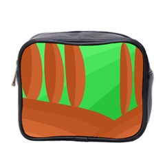 Green And Orange Landscape Mini Toiletries Bag 2 Side by Valentinaart