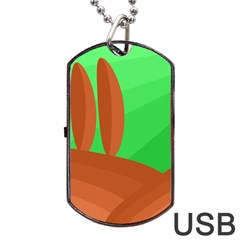 Green And Orange Landscape Dog Tag Usb Flash (one Side) by Valentinaart
