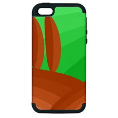 Green And Orange Landscape Apple Iphone 5 Hardshell Case (pc+silicone) by Valentinaart
