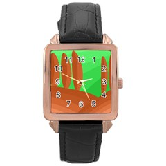 Green And Orange Landscape Rose Gold Leather Watch  by Valentinaart