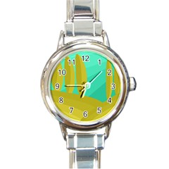 Green And Yellow Landscape Round Italian Charm Watch by Valentinaart