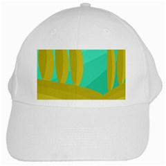 Green And Yellow Landscape White Cap by Valentinaart