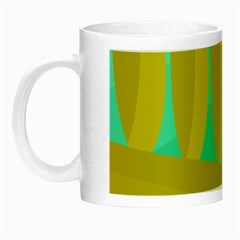 Green And Yellow Landscape Night Luminous Mugs by Valentinaart