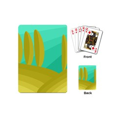 Green And Yellow Landscape Playing Cards (mini)  by Valentinaart