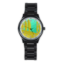 Green And Yellow Landscape Stainless Steel Round Watch