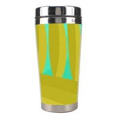 Green And Yellow Landscape Stainless Steel Travel Tumblers
