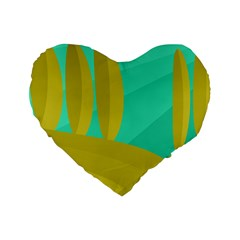 Green And Yellow Landscape Standard 16  Premium Flano Heart Shape Cushions by Valentinaart