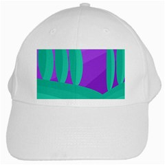Purple And Green Landscape White Cap by Valentinaart
