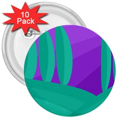 Purple And Green Landscape 3  Buttons (10 Pack)  by Valentinaart