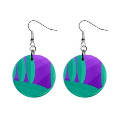 Purple And Green Landscape Mini Button Earrings by Valentinaart