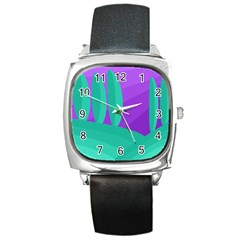 Purple And Green Landscape Square Metal Watch by Valentinaart