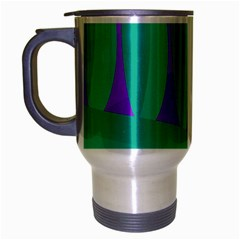 Purple And Green Landscape Travel Mug (silver Gray) by Valentinaart