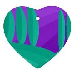 Purple And Green Landscape Heart Ornament (2 Sides) by Valentinaart