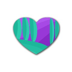 Purple And Green Landscape Heart Coaster (4 Pack)  by Valentinaart