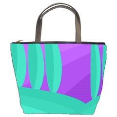 Purple And Green Landscape Bucket Bags