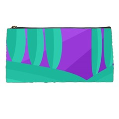 Purple And Green Landscape Pencil Cases by Valentinaart