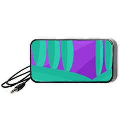 Purple And Green Landscape Portable Speaker (black)  by Valentinaart